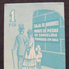 Coleccionismo Papel Varios: VALE DE 1 PESETA AHORRO ESCOLAR - CAJA DE AHORROS Y MONTE DE PIEDAD DE BARCELONA. Lote 148234646
