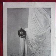Coleccionismo Papel Varios: LANVIN-PARFUMS. PUBLICIDAD HOJA REVISTA L'ILUSTRATIÓN 1932. IDEAL PARA ENMARCAR. Lote 148239282