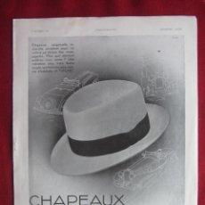 Coleccionismo Papel Varios: CHAPEAUX FLECHET. PUBLICIDAD HOJA REVISTA L'ILUSTRATIÓN 1932. IDEAL PARA ENMARCAR. Lote 148239614