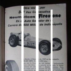 Coleccionismo Papel Varios: NEUMATICOS FIRESTONE SAM HANKS RECORTE PUBLICIDAD VINTAGE REVISTA ANTIGUA AÑO 1957. Lote 148949610