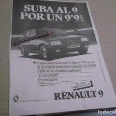Coleccionismo Papel Varios: RECORTE PUBLICIDAD AÑOS 80/90 - RENAULT 9. Lote 148978826