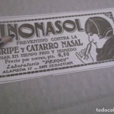 Coleccionismo Papel Varios: RECORTE PUBLICIDAD AÑOS 1929/30 - RINONASOL -LABORATORIO PESQUI-SAN SEBASTIAN. Lote 149587350
