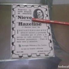 Sammelleidenschaft Andere Papierartikel - RECORTE PUBLICIDAD AÑO 1919 - NIEVE HAZELINE - PARA DESPUÉS DEL AFEITADO - 150370450