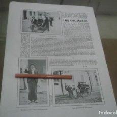 Coleccionismo Papel Varios: RECORTE AÑO 1902 - MADRID , LOS ORGANILLOS . Lote 150375850
