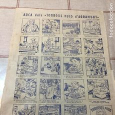 Coleccionismo Papel Varios: AUCA DELS TORRONS PUIG D' AGRAMUNT / DIB. MALLOL. 43X30 CM.. Lote 150478034