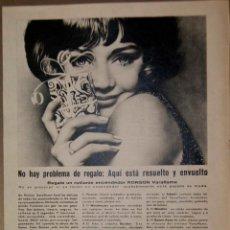 Coleccionismo Papel Varios: RECORTE PRENSA PUBLICIDAD RONSON 1965. Lote 150677806