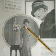 Coleccionismo Papel Varios: RECORTE PRENSA AÑOS 20-1925 LA MODA AMABLE DEL INVIERNO TRISTE DEL 1925 PAGINA DE MUJER.NM6. Lote 150778194