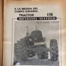 Coleccionismo Papel Varios: PUBLICIDAD TRACTORES MOTRANSA NUFFIELD DE 1970. Lote 150793233