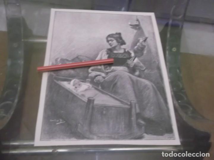 RECORTE AÑO 1899 - MUJER ESPAÑOLA TEJIENDO CON CUNA DE BEBE Y LUZ DE CANDIL, DIBUJO DE PLA (Coleccionismo en Papel - Varios)