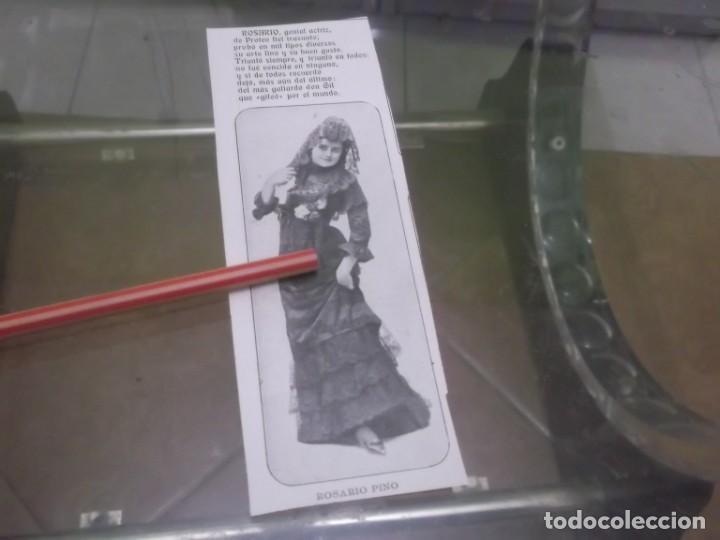 RECORTE AÑO 1901 - LA ARTISTA ESPAÑOLA ROSARIO PINO (Coleccionismo en Papel - Varios)
