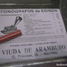 Coleccionismo Papel Varios: RECORTE PUBLICIDAD AÑO 1902 - FONÓGRAFOS DE EDISON - VIUDA DE ARAMBURO - MADRID . Lote 150953510