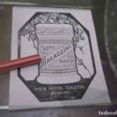 Coleccionismo Papel Varios: RECORTE PUBLICIDAD AÑO 1902 - CREMA MALACEÏNE -MONPELAS -PARIS. Lote 150954906