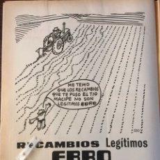 Coleccionismo Papel Varios: PUBLICIDAD RECAMBIOS EBRO MOTOR IBÉRICA TRACTORES CAMIÓN DE 1971. Lote 150979794