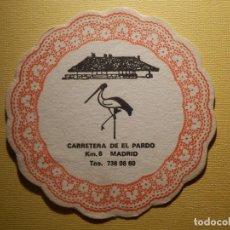 Coleccionismo Papel Varios: POSAVASOS PUBS Y DISCOTECAS - LA CIGUEÑA - CARRETERA DE EL PARDO, KM. 6 - MADRID . Lote 151464122