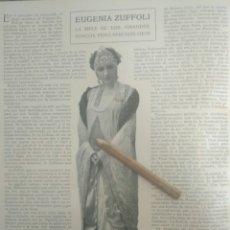 Coleccionismo Papel Varios: RECORTE PRENSA AÑOS 20-1925 EUGENIA ZUFFOLI.MUNDO N 89. Lote 151708432