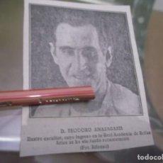 Coleccionismo Papel Varios: RECORTE AÑOS 1929/30 - EL ESCULTOR ESPAÑOL TEODORO ANASAGASTI,INGRESA EN REAL ACADEMIA BELLAS ARTES. Lote 151713858