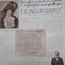 Coleccionismo Papel Varios: ARTICULO COMPLETO 1929 LA BELLA OTERO LA MUJER MAS HERMOSA FUE UNA GALLEGA VALGA PUENTECESURES . Lote 151827638