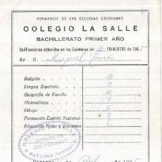 Coleccionismo Papel Varios: == CM63 - PAPELETA DE CALIFICACION EXAMEN - COLEGIO LA SALLE 1965. Lote 152118350
