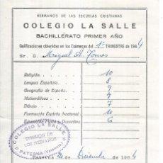 Coleccionismo Papel Varios: == CM64 - PAPELETA DE CALIFICACION EXAMEN - COLEGIO LA SALLE 1964. Lote 152119074