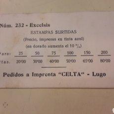 Coleccionismo Papel Varios: IMPRENTA CELTA LUGO PRECIOS TARIFAS ESTAMPAS. Lote 152136566
