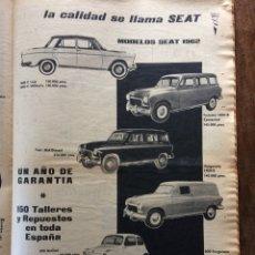 Coleccionismo Papel Varios: PUBLICIDAD AUTOMÓVIL SEAT 1400 600 DE 1962. Lote 152420702