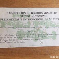 Coleccionismo Papel Varios: ENTRADA FERIA OFICIAL INTERNACIONAL MUESTRAS BARCELONA COMPETICION BOLIDOS, MIDE 15X8CMS. RARO. Lote 152758106