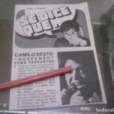 Coleccionismo Papel Varios: RECORTE AÑOS 70 - EL CANTANTE ESPAÑOL CAMILO SESTO . Lote 153471022