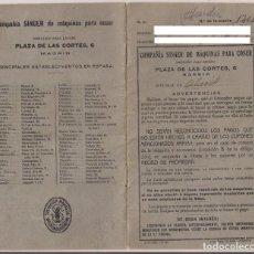 Coleccionismo Papel Varios: LIBRO DE OBLIGACIÓN DE ARRENDAMIENTO MAQUINA DE COSER SINGER, 132 CUPONES DESDE EL AÑO 1927 A 1930. Lote 153490566