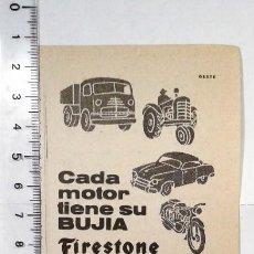Coleccionismo Papel Varios: RECORTE PUBLICIDAD. REVISTA AÑO 1959. BUJIA FIRESTONE.. Lote 153586522