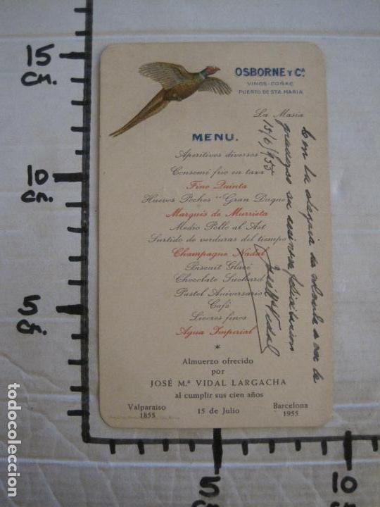 Coleccionismo Papel Varios: MENU ANTIGUO ORIGINAL-OSBORNE Y CIA VIÑOS & COÑAC-PUERTO DE SANTA MARIA-FIRMADO-VER FOTOS-(V-16.035) - Foto 7 - 153714718