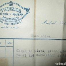 Coleccionismo Papel Varios: ANTIGUA FACTURA JOYERIA PERERA LOEWE CHAPA LAUREADA ( MEDALLA ) A EMBAJADOR AFRICA NADRID 1957. Lote 154388162