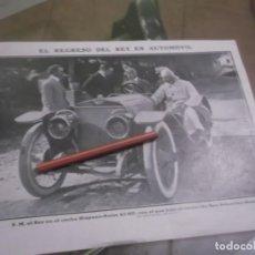 Coleccionismo Papel Varios: RECORTE AÑO 1910 - REGRESO DEL REY ALFONSO EN AUTOMOVIL HISPANO SUIZA 45 HP , SAN SEBASTIAN-MADRID. Lote 154875250