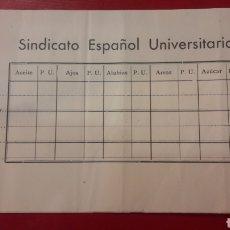 Coleccionismo Papel Varios: SINDICATO ESPAÑOL UNIVERSITARIO PARTE ALMACEM. Lote 155299117
