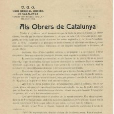 Coleccionismo Papel Varios: SINDICALISMO / AFILIACIÓN U.G.O. UNIÓ GREMIAL OBRERA DE CATALUNYA / ALS OBRERS DE CATALUNYA - A L.... Lote 155899906
