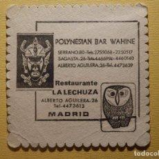 Altri oggetti di carta: POSAVASOS PUBS Y DISCOTECAS - POLYNESIAN BAR WAHINE - ALBERTO AGUILERA, 26 - MADRID . Lote 156006970