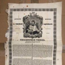 Coleccionismo Papel Varios: MUY ANTIGUO DOCUMENTO DE ANGELICO DOCTOR TOMAS DE AQUINO FILOSOFIA TESIS 1857 BARCELONA EN LATIN MUY. Lote 156711689