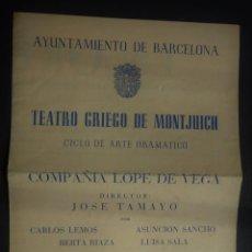 Altri oggetti di carta: PROGRAMA DE LA ORESTIADA POR LA COMPAÑIA LOPE DE VEGA, DR. JOSE TAMAYO AÑO 1959 BARCELONA. Lote 157916970