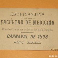 Coleccionismo Papel Varios: CUESTACIÓN A FAVOR DE LOS NIÑOS DE LA INCLUSA ESTUDIANTINA DE LA FACULTAD DE MEDICINA VALENCIA 1898. Lote 157933194