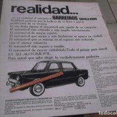 Coleccionismo Papel Varios: RECORTE PUBLICIDAD AÑOS 65/66 - AUTOMOVIL BARREIROS SIMCA 1000. Lote 158117114
