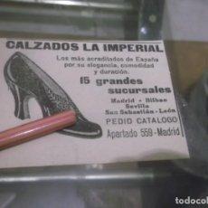 Coleccionismo Papel Varios: RECORTE PUBLICIDAD AÑO 1920 - CALZADOS LA IMPERIAL - MADRID.BILBAO,SEVILLA.LEÓN ,SAN SEBASTIÁN. Lote 158399782