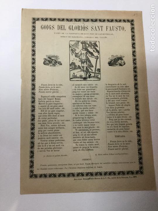 GOIGS GLORIOS SANT FAUSTO..SANT FOST DE CAPCENTELLAS. BCN : HEREUS V. PLA, 1890. 32X22CM. (Coleccionismo en Papel - Varios)