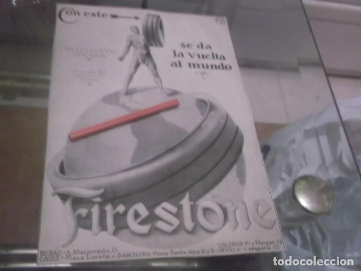 RECORTE PUBLICIDAD AÑO 1920 - NEUMATICOS FIRESTONE -MADRID,BARCELONA,BILBAO.CADIZ,SEVILLA (Coleccionismo en Papel - Varios)