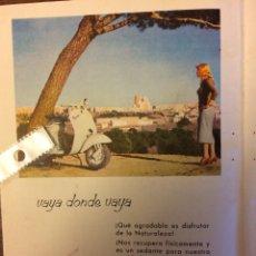 Coleccionismo Papel Varios: PUBLICIDAD MOTO VESPA AÑOS 60. Lote 159280985