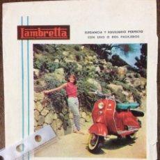 Coleccionismo Papel Varios: PUBLICIDAD MOTO LAMBRETTA AÑOS 60. Lote 159481620