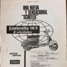 Coleccionismo Papel Varios: PUBLICIDAD MOTO LAMBRETTA AÑOS 60. Lote 159483640