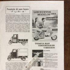 Coleccionismo Papel Varios: PUBLICIDAD MOTO LAMBRETTA AÑOS 60. Lote 159483926