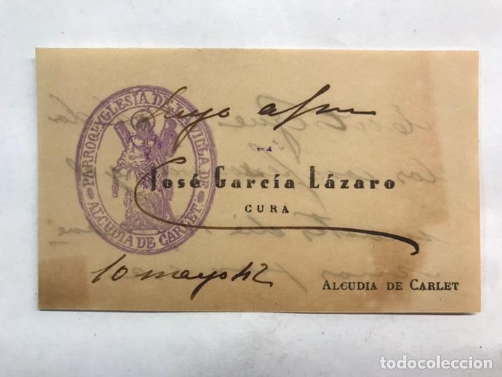 ALCUDIA DE CARLET (VALENCIA) TARJETA VISITA SR. PARROCO JOSÉ GARCÍA (A.1942) (Coleccionismo en Papel - Varios)