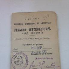 Coleccionismo Papel Varios: ANTIGUO PERMISO INTERNACIONAL DE CONDUCIR - ESPAÑA - CONVENIO INTERNACIONAL DE 24 DE ABRIL 1926. Lote 160750134