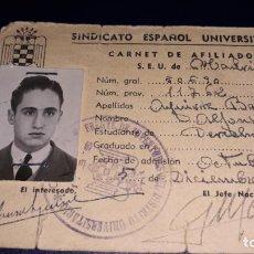 Coleccionismo Papel Varios: CARNET DEL SEU , SINDICATO ESPAÑOL UNIVERSITARIO . ESTUDIANTE DE DERECHO MADRID. 1944. Lote 161000250