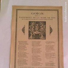 Coleccionismo Papel Varios: GOIGS NAIXEMENT DE LA MARE DE DÉU..LA JUNQUERA. BCN : IMP. F. MIRÓ, 1919. 32X22CM.. Lote 161863318
